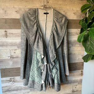 Anthropologie RYU ruffled lace sweater cardigan